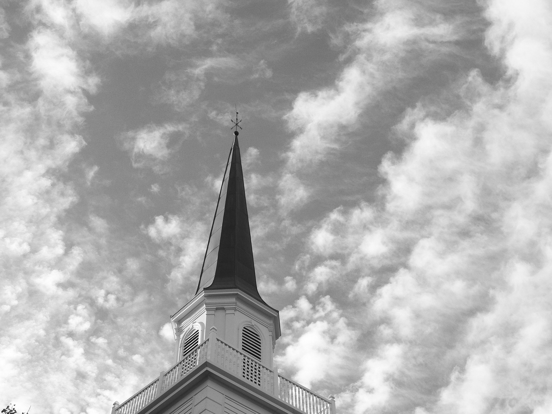 Church steeple in black and white