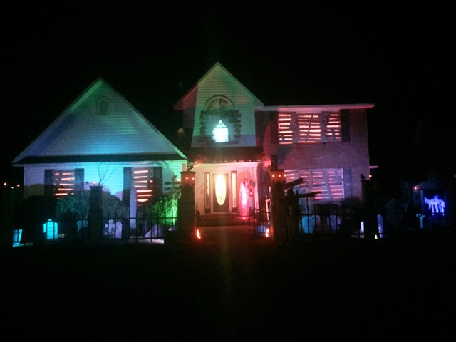 Color house decorated at night