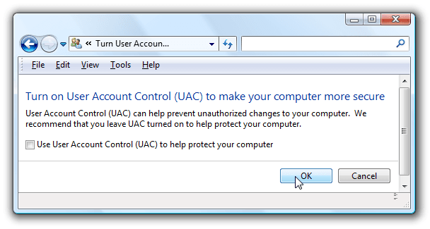 Turn On User Account Control