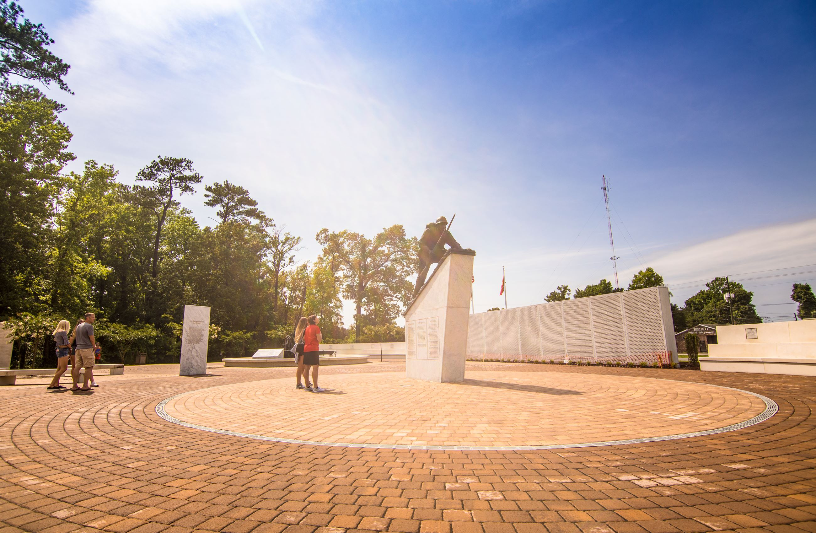 Lejeune Memorial Gardens, Visitors Observing the Montford Point Marines Memorial