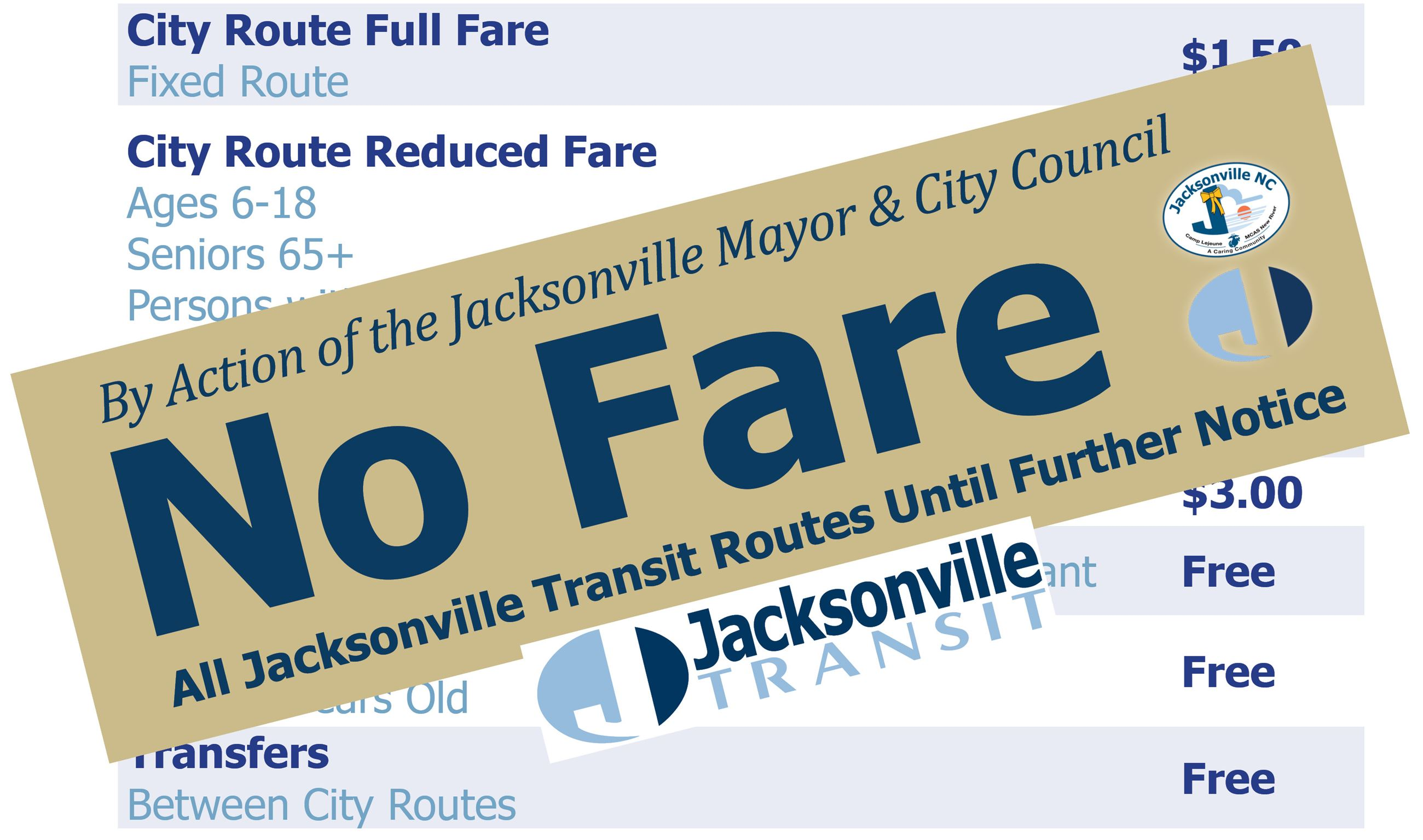 Jacksonville Transit No Fare Graphic Opens in new window