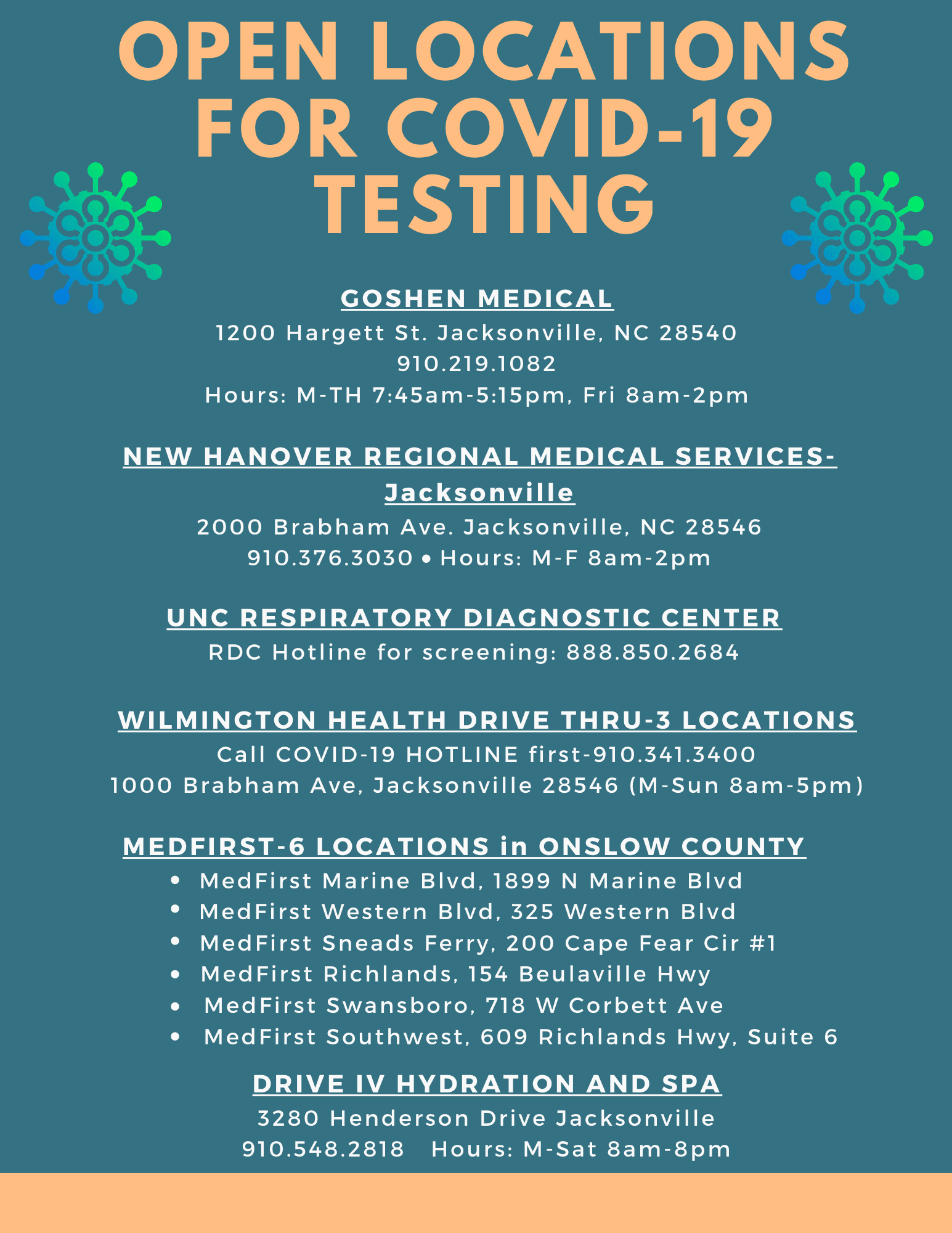 COVID-19 Testing Sites in Onslow County