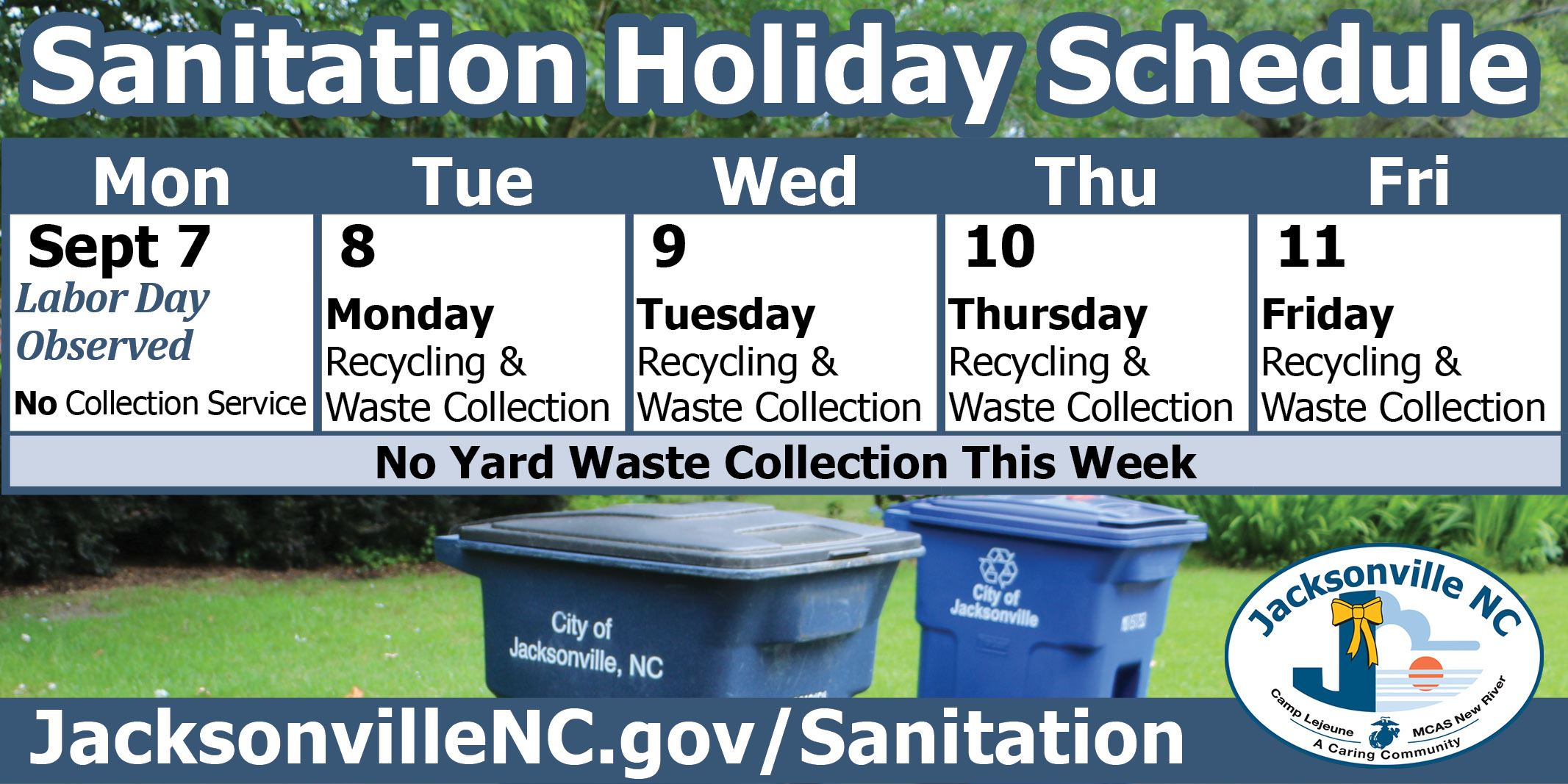 Sanitation Holiday Schedule - Labor Day Week 2020